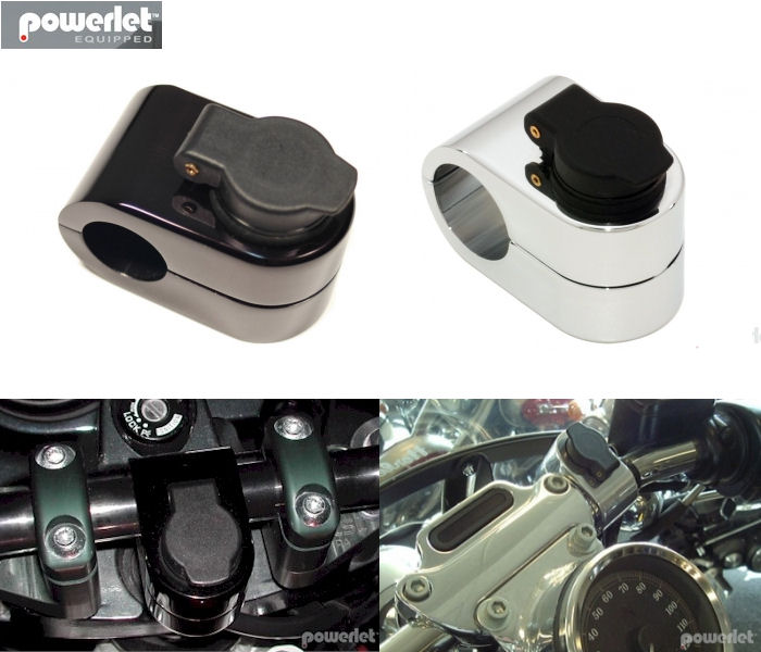 """1/"""" Bars Powerlet Handlebar Outlet Chrome Also Mounts Gadgets Fits 7//8/"""""""